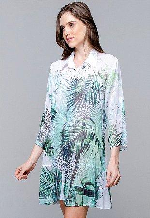 Vestido Chemise Evasê Crepe Estampado Oncinha e Folhas Verdes