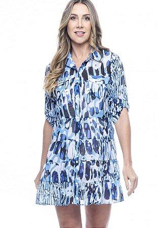 Vestido Chemise Evasê Estampado Animal Print Azul