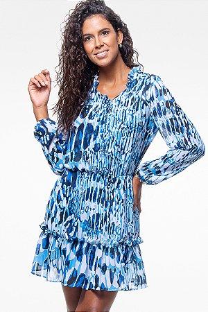 Vestido Forrado Curto Babados Manga Longa Crepe Estampado Azul