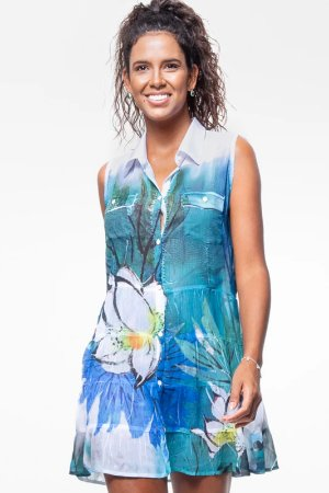 Vestido Chemise Evasê Crepe Estampado Flor Azul