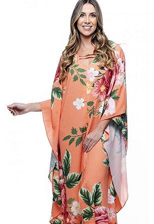 Vestido Longo Kaftan  Crepe Estampado Floral Grande Fundo Laranja