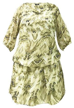 Vestido Saida de Praia com Mangas Bufantes Crepe Estampado Manchado Marrom