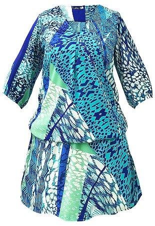 Vestido Saida de Praia com Mangas Bufantes Crepe Estampado Grafismo Azul