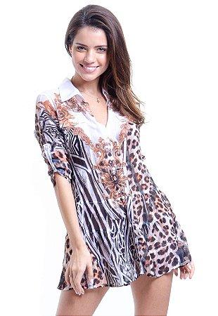 Vestido Chemise Curto Evasê Mangas Crepe Animal Print Onça Zebra Marrom Preto Ouro