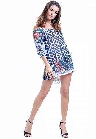 Vestido Saída Ombro a Ombro Evase Crepe Estampado Grafismo Azul