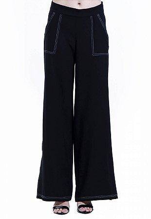 Calça Pantalona Crepe Flare Cintura Alta Pespontos Preta
