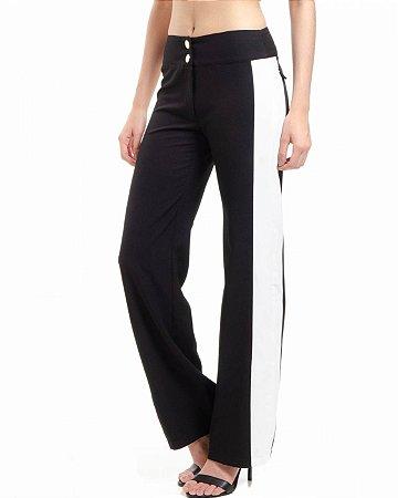 Calça Pantalona Bicolor Alfaiataria com Elastano Preto Branco