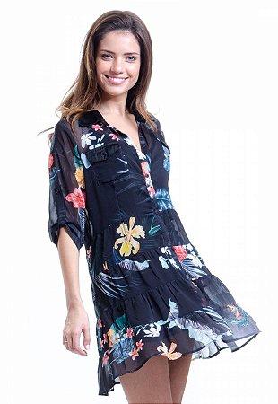 Vestido Chemise Curto Evasê Mangas 3/4 Crepe Estampado Floral Fundo Preto