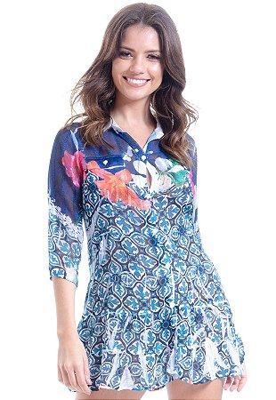 Vestido Chemise Curto Evasê Mangas 3/4 Crepe Estampado Flores Azulejos Azul Branco