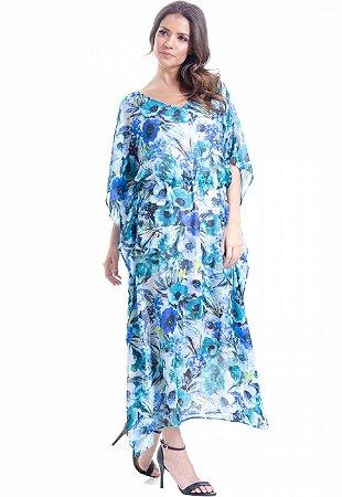 Vestido Kaftan Longo Crepe Estampado Floral Azul