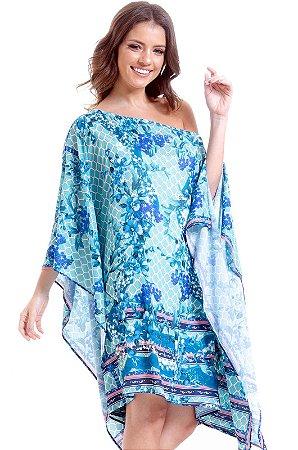 Kaftan Vestido Plus Size Cetim Estampado Lenco Floral Verde