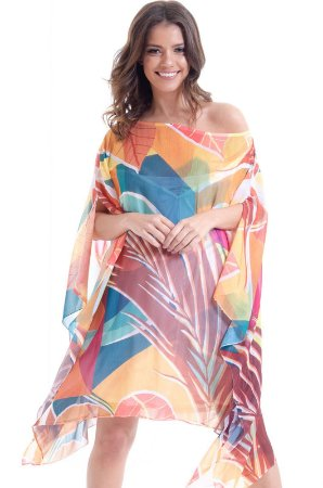 Kaftan Vestido Plus Size Crepe Estampado Folhas Geométricas Laranja