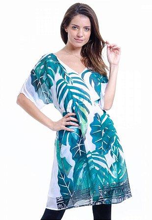 Vestido Decote V Crepe Estampado Folhagem Verde e Branco