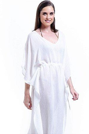 Vestido Kaftan Longo Viscose Branco Off