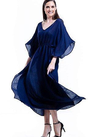 Vestido Kaftan Longo Viscose Azul Marinho