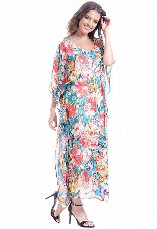 Vestido Kaftan Longo Crepe Estampa Floral Vermelho