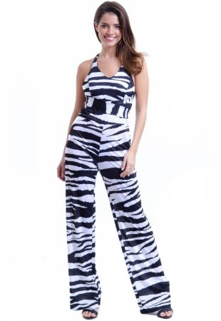 Macacao Jersey Elastano Animal Print Zebra Preto Branco