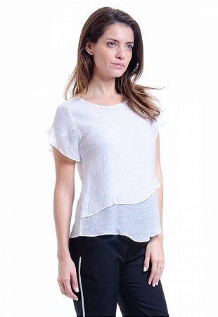 Blusa 2 Camadas  Mangas Curtas Viscose Off White
