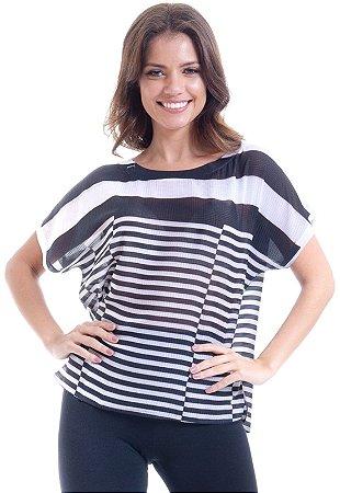 Blusa Tunica T-Shirt Cetim Estampado Listras Preto Branco