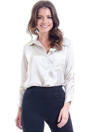 Camisa Social Lisa Cetim Areia