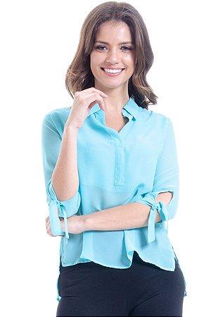 Camisa Lisa Crepe Polo Laco Mangas 34 Azul Claro