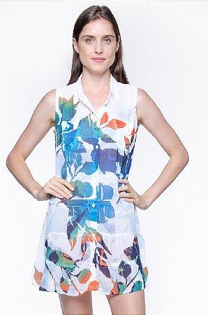 Vestido Chemise Florido Bicolor Fundo Branco