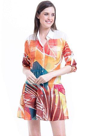 Vestido Chemise Curto Evasê Mangas Crepe Estampado Folhagem Laranja