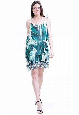 Vestido Curto Crepe Evasê Com Babados Estampa Folhas Verdes
