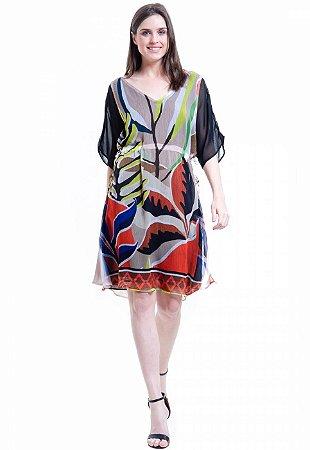 Vestido Crepe Estampado Folhas Colorido