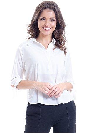 Camisa Lisa Crepe Polo Laco Mangas 34 Off White