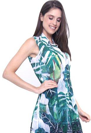 Vestido Chemise Curto Evase S/M Crepe Estampado Folhagem Verde
