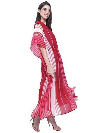 Vestido Kaftan Longo Crepe Listra Vermelha