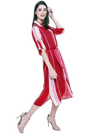 Vestido Chemise Midi Evase Crepe Estampado Listrado Vermelho