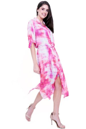 Vestido Chemise Midi Evase Crepe Estampado Tiedye Rosa