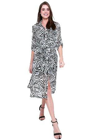 Vestido Chemise Midi Evase Crepe Estampado Zebra Preto Branco
