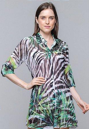 Vestido Chemise Curto Evasê Mangas Crepe Animal Print Zebra Folhas Preto Branco Verde