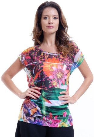 Blusa Tunica Ampla Decote Careca Estampada Floral Multicolorida
