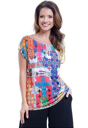Blusa Tunica Ampla Decote Careca Estampada Multicolorida