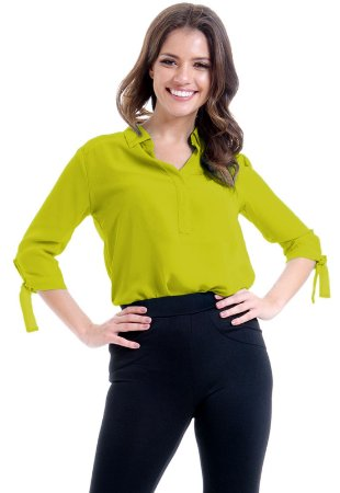 Camisa Lisa Crepe Polo Laco Mangas 34 Verde