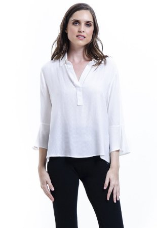 Camisa Lisa Viscose Polo Mangas Flare 34 Branco Off