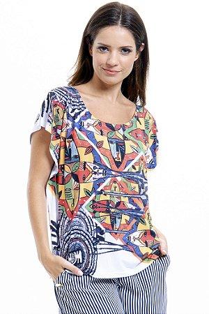 Blusa Tunica Careca Malha Fria Estampada Tribal Multicolorida