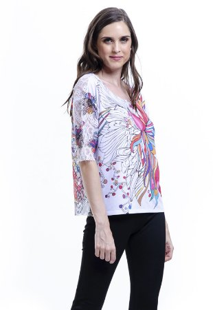 Blusa Tunica Careca Mangas Renda malha Fria Floral Multicolorida