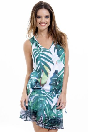 Vestido Saída de Praia Decote V Crepe Estampado Folhagem Verde