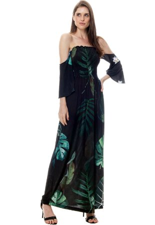 Vestido Longo Cigana Lastex Mangas 3/4 Jersey Estampado Folhagem Preto Verde