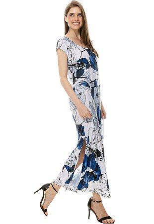 Vestido Longo Fendas sem mangas Jersey Estampado Folhagem Branco Azul