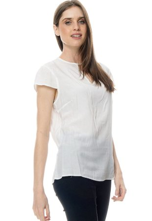 Blusa Crepe Forrado Decote Vazado Manga Curta Off white