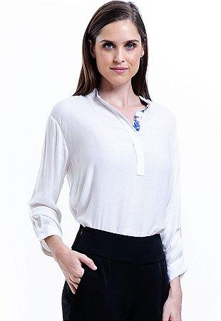 Camisa Viscose Lisa Polo Branco Off