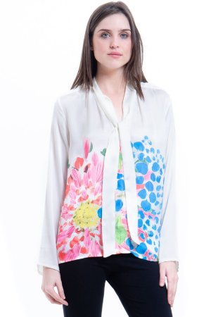 Camisa Cetim Gola Laço Estampa Floral Rosa Azul