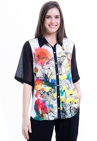 Camisa Mangas Curtas Cetim Estampa Borboletas