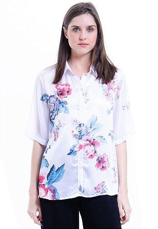 Camisa Mangas Curtas Cetim Estampa Floral Vintage Branca